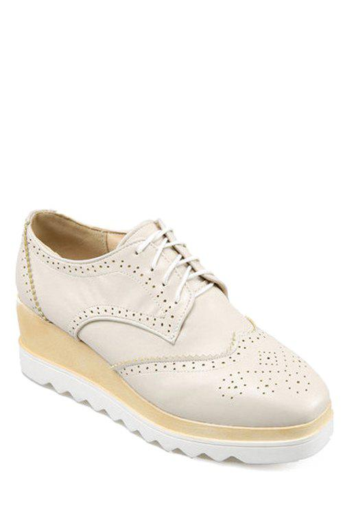 Preppy Engraving and Square Toe Design Platform Shoes For Women