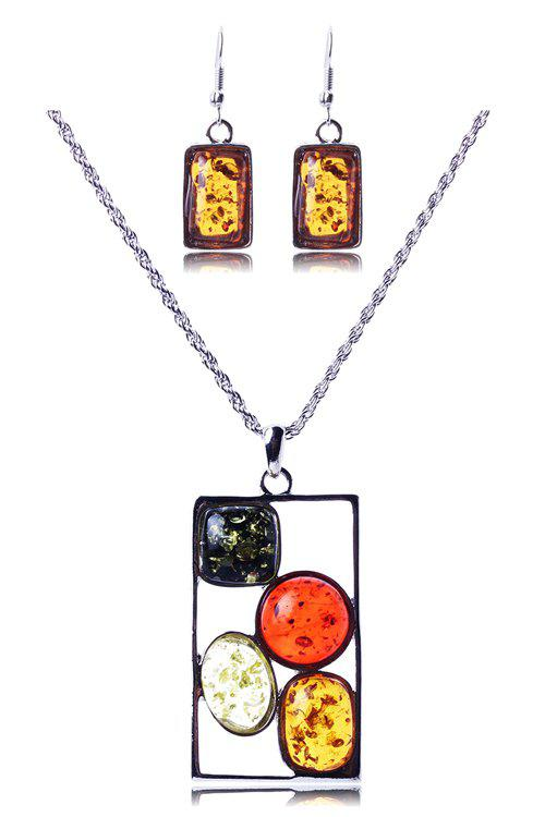 A Suit of Geometric Faux Amber Necklace and Earrings - SILVER