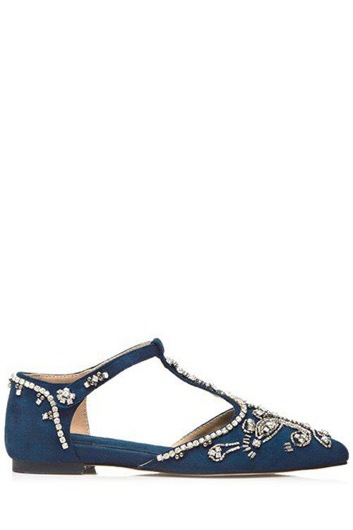 Gorgeous Rhinestone and T-Strap Design Flat Shoes For Women - BLUE 38