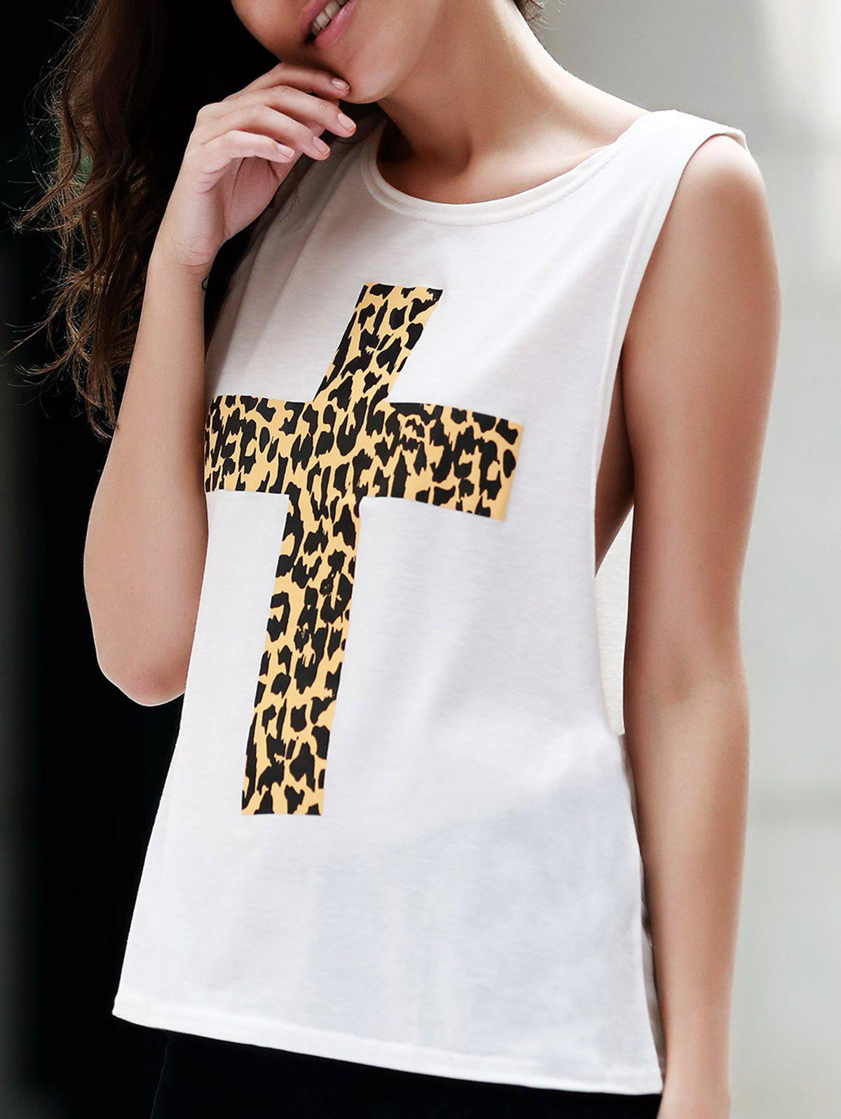 Stylish Round Neck Sleeveless Cross Pattern Women's Tank Top - WHITE L