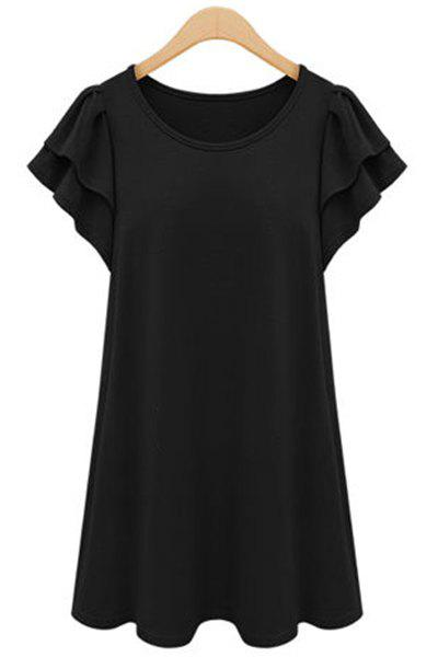 Chic Butterfly Sleeve Scoop Neck Solid Color Plus Size Women's Dress - BLACK XL