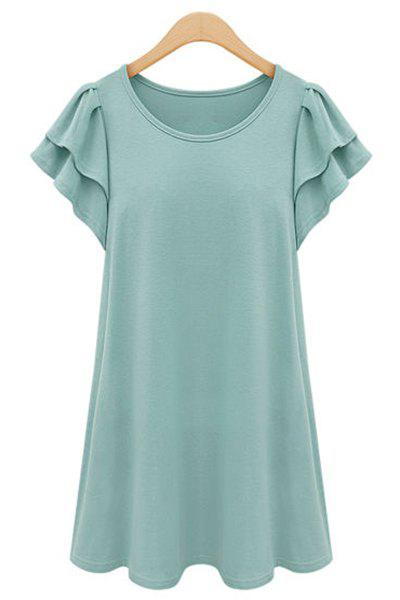 Chic Butterfly Sleeve Scoop Neck Solid Color Plus Size Women's Dress - MINT GREEN XL