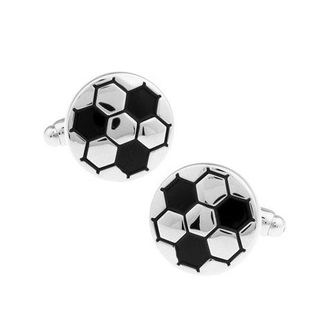 Pair of Stylish Soccer Shape Embellished Alloy Cufflinks For Men - SILVER