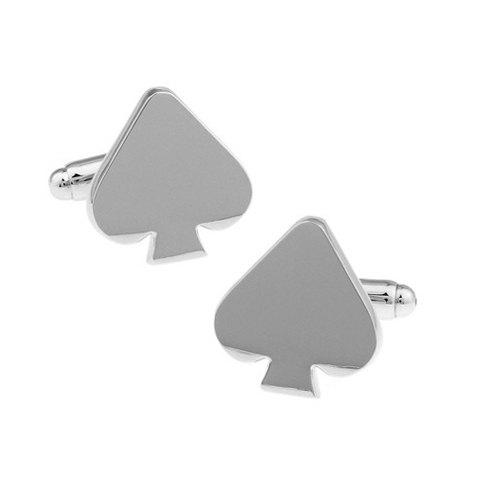 Pair of Stylish Silver Spades Heart Shape Alloy Cufflinks For Men