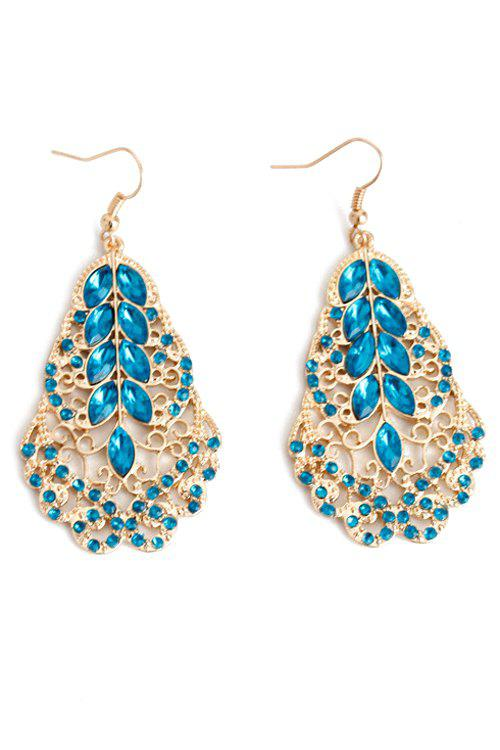 Pair of Exquisite Rhinestone Leaf Shape Earrings For Women - GOLDEN