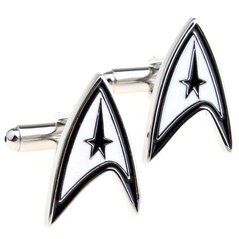 Pair of Stylish Star Trek Logo Shape Men's Alloy Cufflinks - WHITE/BLACK
