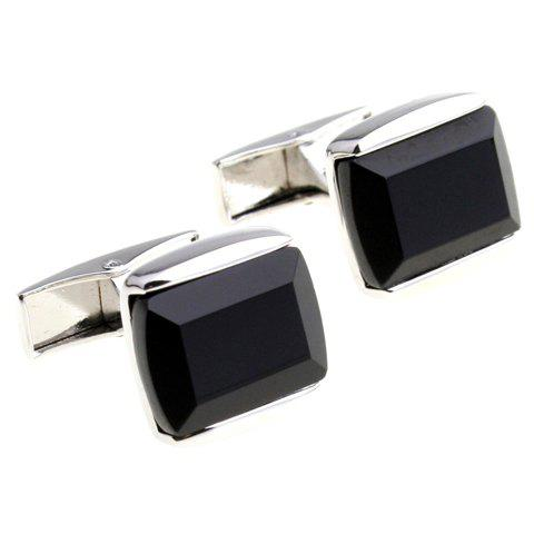 Pair of Stylish Black Faux Gem Inlay Alloy Cufflinks For Men - BLACK
