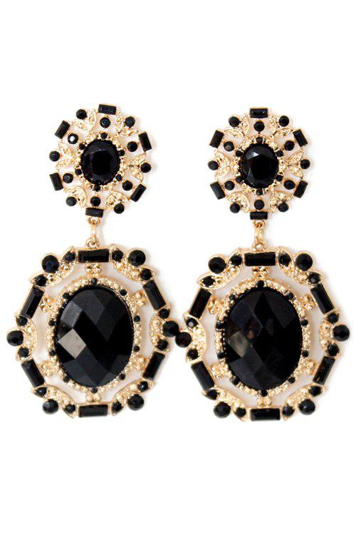 Pair of Exquisite Oval Faux Crystal Earrings For Women - BLACK