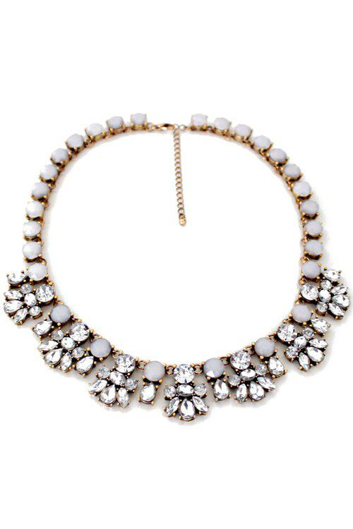 Faux Crystal Floral Necklace - GOLDEN