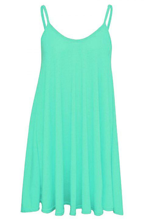 Spaghetti Strap Trapeze Dress - LIGHT BLUE M
