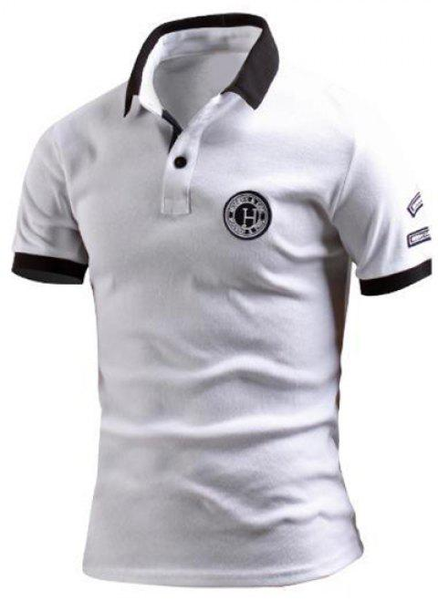 Turn-Down Collar Color Block Spliced Applique Embellished Short Sleeve Men's Polo T-Shirt - WHITE M