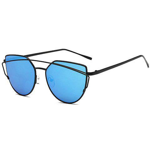 Chic Metal Bar Embellished Women's Black Sunglasses - BLUE