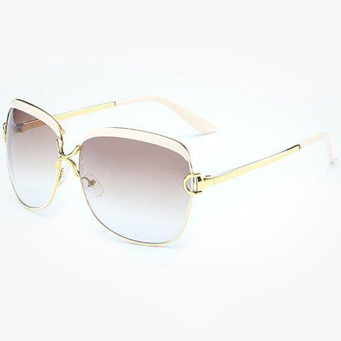 Chic Hollow Letter D Shape Embellished Gold Match Women's Sunglasses - OFF WHITE