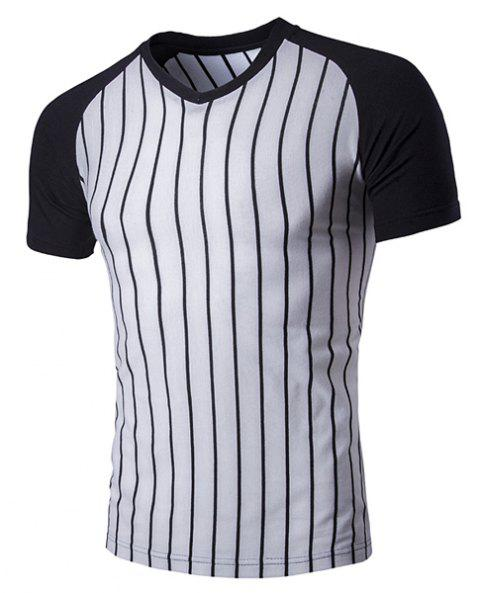 V-Neck Vertical Stripe Raglan Short Sleeve Men's T-Shirt - BLACK M