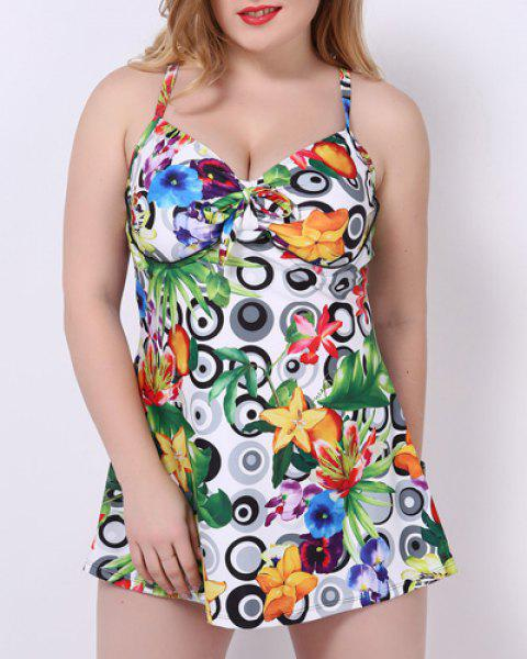 f44e22eeb1f Stylish Spaghetti Strap Printed Women's Plus Size One-Piece Swimsuit -  GREEN 6XL