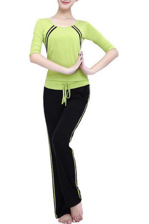 Casual Striped 3/4 Sleeve Scoop Neck Drawstring Women's Yoga Suit - GREEN 2XL