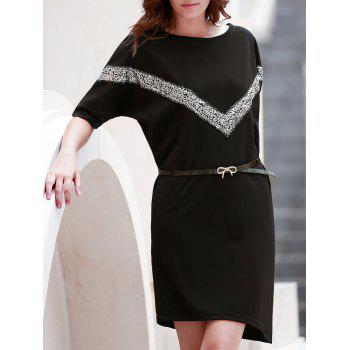 OL Style Bat Sleeve Scoop Neck Belted Dress For Women