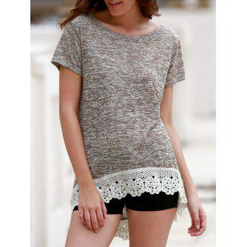Stylish Round Neck Short Sleeve Hollow Out Women's High Low T-Shirt