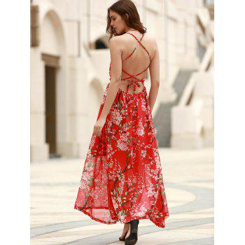 Buy Bohemian Floral Print Spaghetti Strap Criss-Cross Women's Chiffon Dress RED