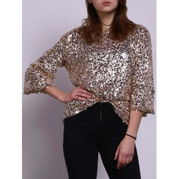 Stylish Jewel Neck Half Sleeve Sequined Loose Women's T-Shirt