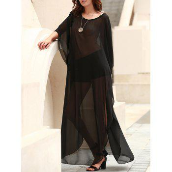 Sexy Scoop Neck 3/4 Sleeve See-Through Slit Women's Cover-Up