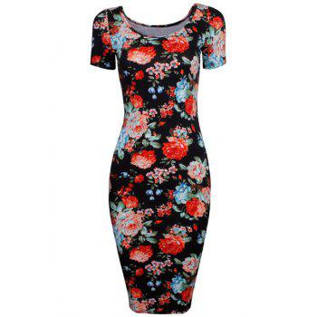 Stylish Women's Scoop Neck Short Sleeve Floral Dress
