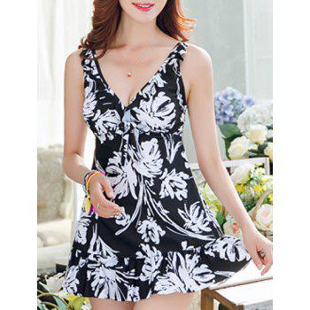 Sweet Women's V-Neck Abstract Printed One-Piece Swimsuit