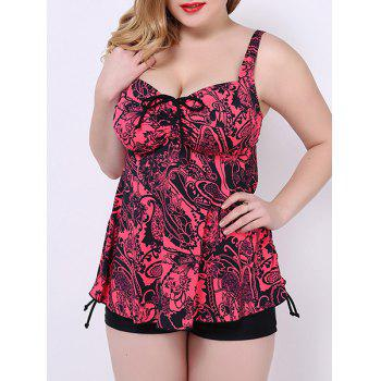 Trendy Print Push Up Plus Size Two Piece Swimwear For Women - RED 2XL