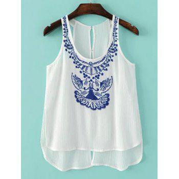 Sweet Women's U-Neck Embroidery Hollow Out Tank Top