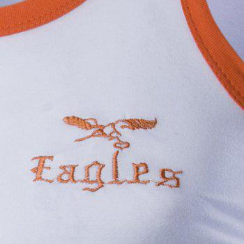 Round Neck Edging Design Letters and Eagle Embroidered Sleeveless Men's Tank Top - L L