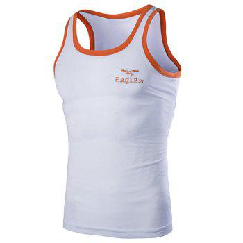 Round Neck Edging Design Letters and Eagle Embroidered Sleeveless Men's Tank Top - WHITE L