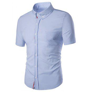 Turn-Down Collar Color Block Selvedge Embellished Short Sleeve Men's Shirt