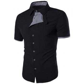 Turn-Down Collar Oblique Buttons Design Checked Spliced Short Sleeve Men's Shirt