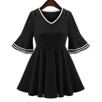 Elegant Women's V-Neck Flare Sleeve A-Line Dress