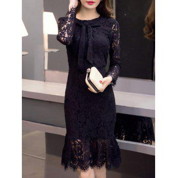Sexy Round Neck Long Sleeve Flounced Cut Out Women's Lace Dress