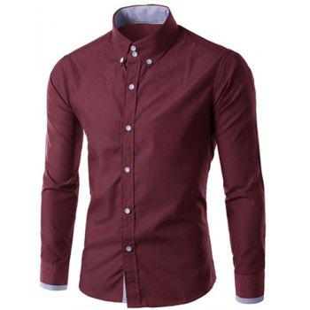 Men's Slimming Long Sleeves Checked Button Turn Down Collar Shirt