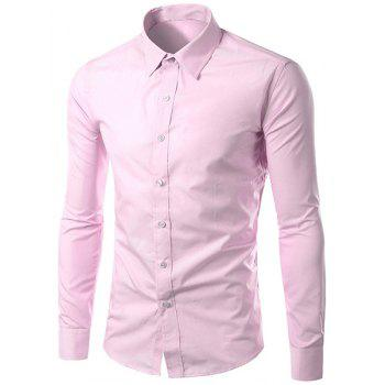 Men's Slimming Long Sleeves Solid Color Turn Down Collar Shirt