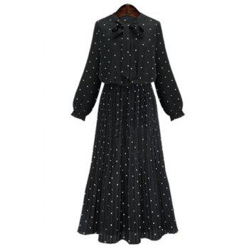 Graceful Bow Tie Collar Long Sleeve Polka Dot Pleated Women's Maxi Dress