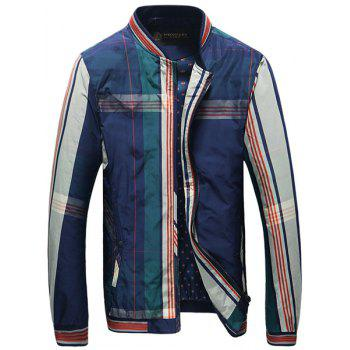 Rib Spliced Color Block Plaid Stand Collar Long Sleeves Men's Slim Fit Jacket