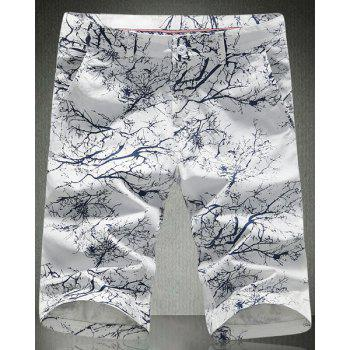 3D Tree Branch Print Slimming Straight Leg Zipper Fly Men's Plus Size Shorts