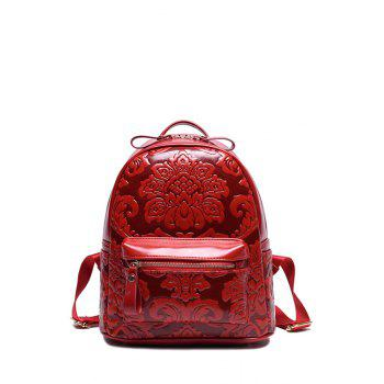 Vintage Floral Embossed and Solid Color Design Satchel For Women