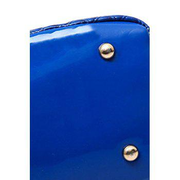 Trendy Checked and Patent Leather Design Shoulder Bag For Women - BLUE