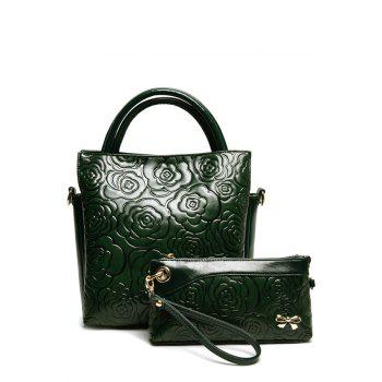 Elegant Floral Embossing and Solid Color Design Tote Bag For Women