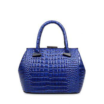 Trendy Crocodile Print and Clip Closure Design Tote Bag For Women