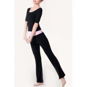 Stylish Color Block Scoop Neck Half Sleeve Women's Yoga Suit
