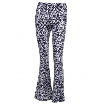 Vintage Women's High-Waisted Geometric Printed Pants