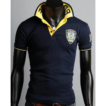 Turn-Down Collar Letters Pattern Rib Splicing Short Sleeve Men's Polo T-Shirt