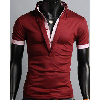 Turn-Down Collar Single Breasted Design Color Block Splicing Short Sleeve Men's Polo T-Shirt