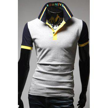 Turn-Down Collar Color Block Spliced Letters Pattern Short Sleeve Men's Polo T-Shirt