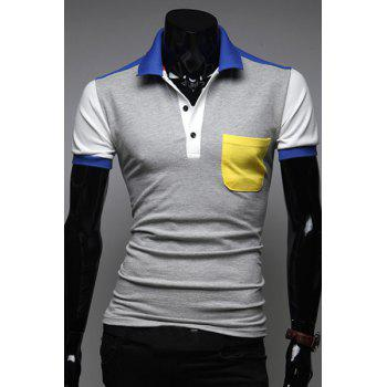 Modish Turn-Down Collar Color Block Spliced Short Sleeve Men's Polo T-Shirt